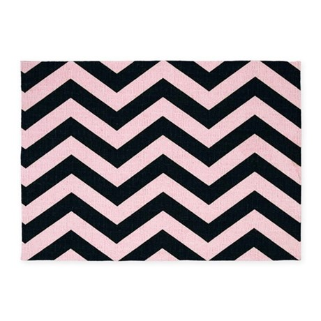 pink and black zigzag 5 39 x7 39 area rug by chevroncitystripes. Black Bedroom Furniture Sets. Home Design Ideas