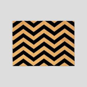 Black burlap zigzags 5'x7'Area Rug