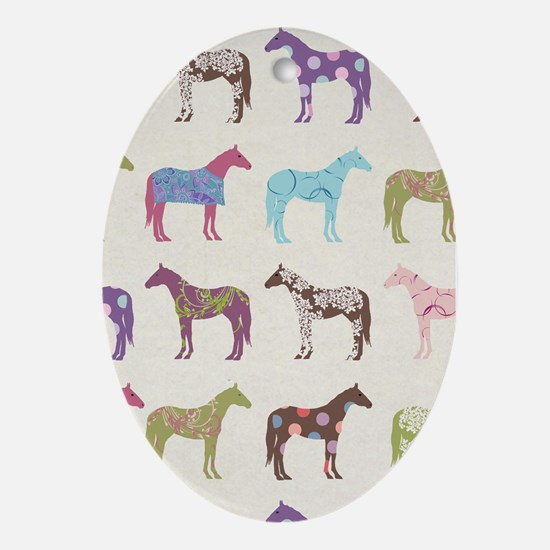 Colorful Horse Pattern Ornament (Oval)