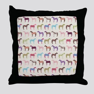 Colorful Horse Pattern Throw Pillow