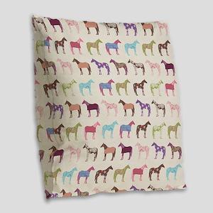Colorful Horse Pattern Burlap Throw Pillow