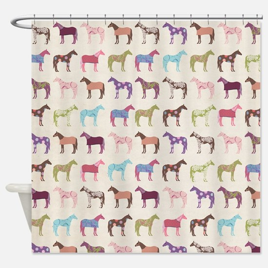 Colorful Horse Pattern Shower Curtain