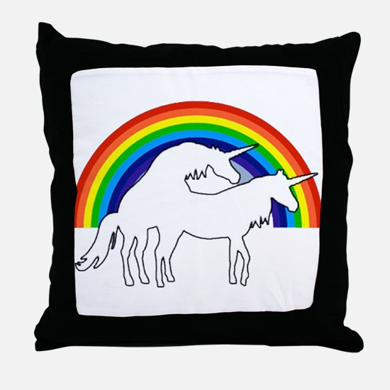 Humping Unicorns Throw Pillow