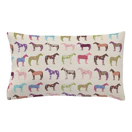 piColorful Horse Pattern Pillow Case