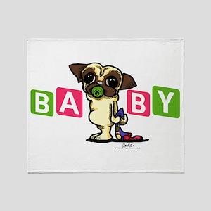 Pug Baby Girl Nursery Decor Throw Blanket