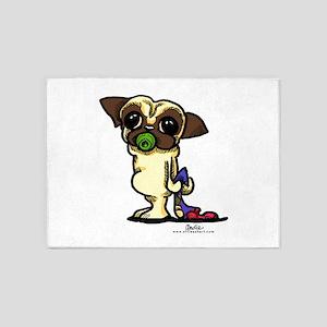 Fawn Pug Puppy 5'x7'Area Rug
