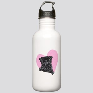 Black Pug Pink Heart Stainless Water Bottle 1.0L