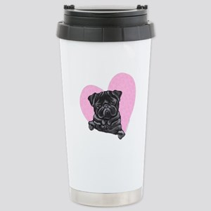 Black Pug Pink Heart Stainless Steel Travel Mug