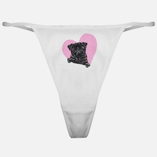 Black Pug Pink Heart Classic Thong
