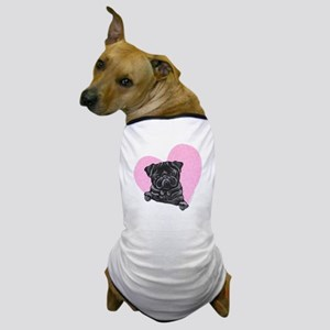 Black Pug Pink Heart Dog T-Shirt