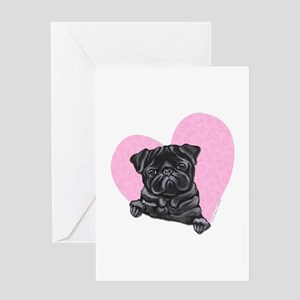 Black Pug Pink Heart Greeting Card