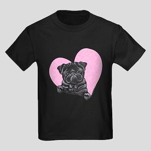 Black Pug Pink Heart Kids Dark T-Shirt