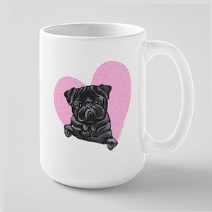 Black Pug Pink Heart Large Mug