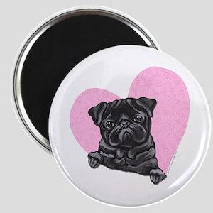 Black Pug Pink Heart Magnet