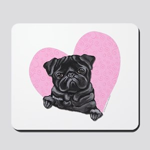 Black Pug Pink Heart Mousepad