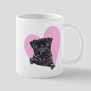 Black Pug Pink Heart Mug