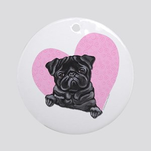 Black Pug Pink Heart Ornament (Round)