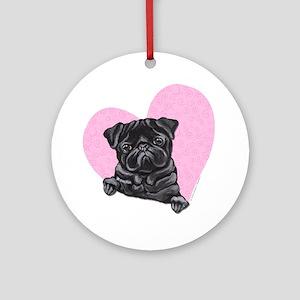 Black Pug Pink Heart Ornament (Round)