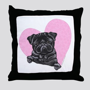Black Pug Pink Heart Throw Pillow