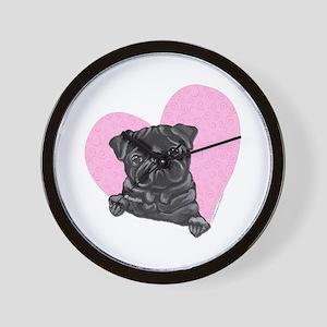 Black Pug Pink Heart Wall Clock