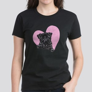 Black Pug Pink Heart Women's Dark T-Shirt