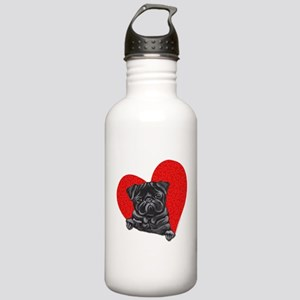 Black Pug Heart Stainless Water Bottle 1.0L