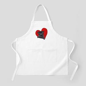 Black Pug Heart Apron