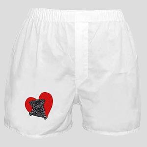 Black Pug Heart Boxer Shorts