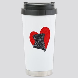 Black Pug Heart Stainless Steel Travel Mug