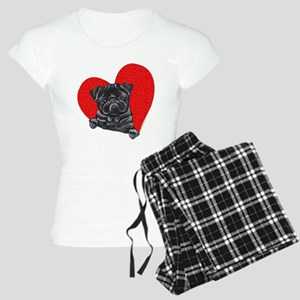 Black Pug Heart Women's Light Pajamas