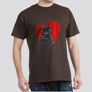 Black Pug Heart Dark T-Shirt