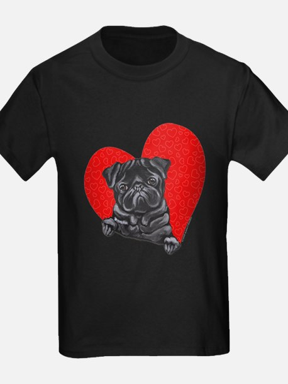 Black Pug Heart T