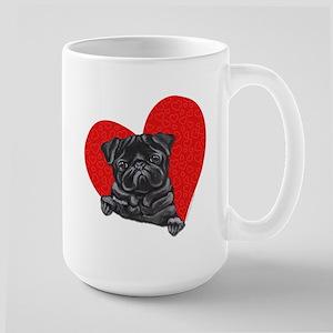 Black Pug Heart Large Mug