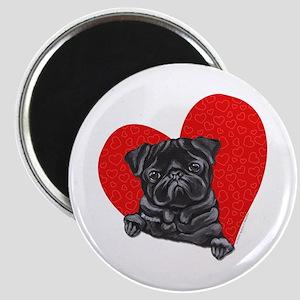 Black Pug Heart Magnet
