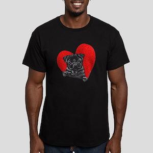 Black Pug Heart Men's Fitted T-Shirt (dark)