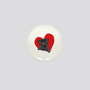 Black Pug Heart Mini Button