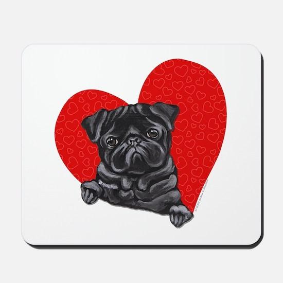 Black Pug Heart Mousepad