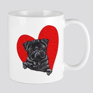Black Pug Heart Mug