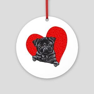 Black Pug Heart Ornament (Round)