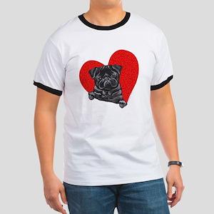 Black Pug Heart Ringer T