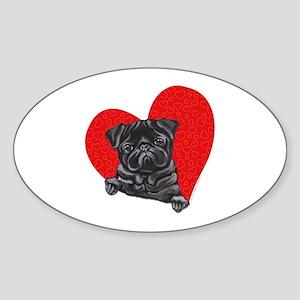 Black Pug Heart Sticker (Oval)