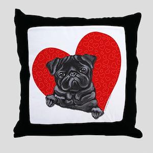 Black Pug Heart Throw Pillow