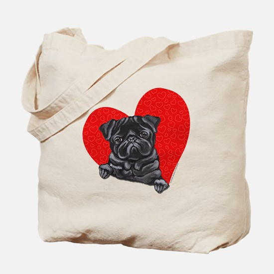Black Pug Heart Tote Bag