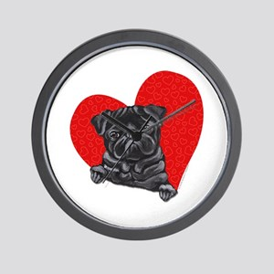 Black Pug Heart Wall Clock