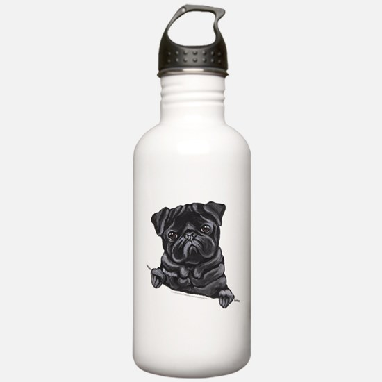 Black Pug Line Art Water Bottle