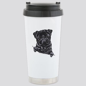 Black Pug Line Art Stainless Steel Travel Mug
