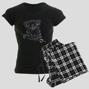 Black Pug Line Art Women's Dark Pajamas
