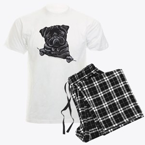 Black Pug Line Art Men's Light Pajamas