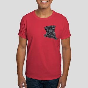 Black Pug Line Art Dark T-Shirt