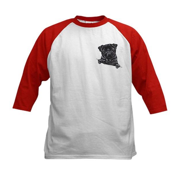 Line Art Jersey : Black pug line art kids baseball tee